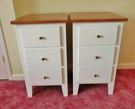 2 X White Chest of Drawers 3 Drawer Storage Units with Teak Effect Top and Handles Bedroom