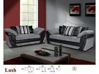 BRAND NEW LUSH FABRIC & LEATHER 3+2+1 SEATER SOFA + FOOTSTOOL IN BLACK/GREY OR BROWN/BEIGE