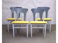 4 Mid Century Modern Upcycled Dining Chairs Painted Grey with Yellow Leather Seats