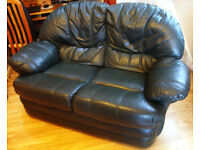 SOFA / SETTEE - Two Seater Green Leather Very Comfortable c/w Fire Tags
