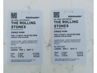 Rolling Stones Ticket, Croke Park, Dublin 17th May 2018. 2 good seats together. Collector Tickets