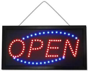 LED OPEN Sign - Bright Red / Blue Lights - 19'' X 9'' - Ship Across Canada