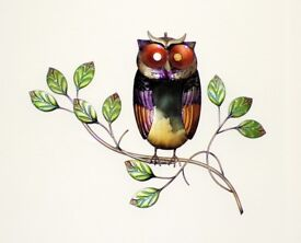 Owl on Branch Metal Wall Art - 54x43cm - New & Boxed