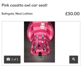 Pink owl cosatto car seat!