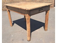 Victorian pine scrub top kitchen table with drawer