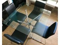 ~GLASS DINING TABLE & 4 LEATHER CHAIRS~