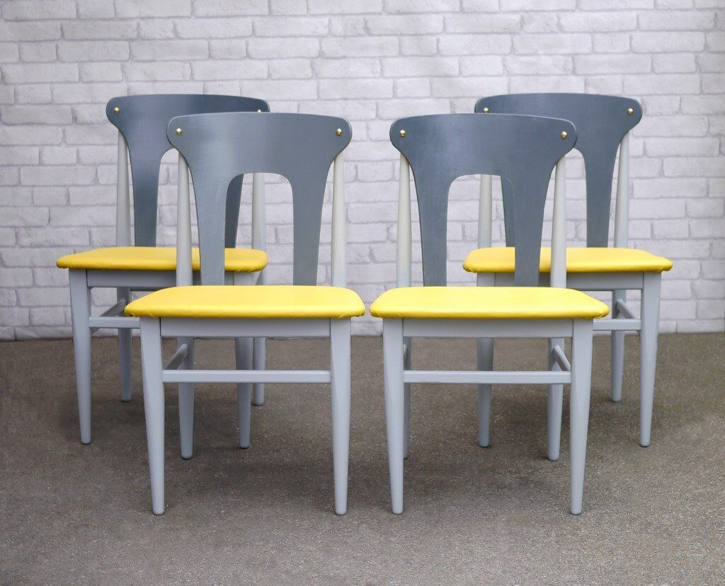 4 Mid Century Upcycled Dining Chairs Painted Grey With Yellow Leather Seats