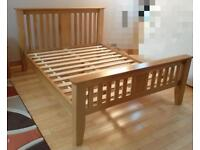 Solid oak king size bed frame, very substantial, very good condition, 5ft wide