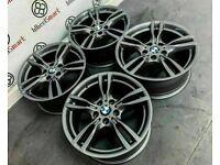 "GENUINE 18"" BMW 3 4 SERIES ALLOY WHEELS - 5 x 120 - GLOSS GREY FINISH"