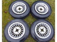 "Four Wolfrace Turbovec 6"" x 13"" Alloy Wheels & Tyres. MG Triumph Lotus TR7 TR8 Marlin Spitfire GT6"