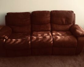 3&2 seater brown faux leather recliner sofas for sale
