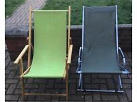 2 deck chairs (1 wooden & 1 metal)