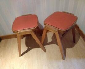 2 x Vintage 1960s Czechoslovakian Stools / Chairs - MCM Mid Century Modern Danish Czech