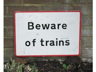Small vintage original (not reproduction) metal railway sign beware of trains