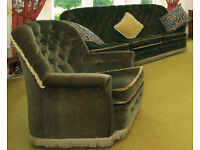 3 Piece Suite (2 Armchairs + 1 Sofa 3 seater) Green Velvet / Velour Fabric