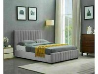 🔵💖🔴OPTIONAL MATTRESSES🔵💖🔴LUCY PLUSH VELVET GAS LIFT DOUBLE STORAGE FRAME IN CREAM & GREY COLOR