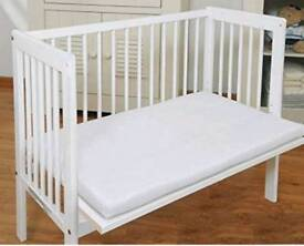 Baby bedside co sleeper. Pine colour. Free mattress and sheet