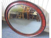 Vintage Oval Bevel Edged Mirror, 59cm x 49cm