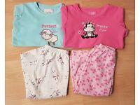 2 pairs girls toddler warm fleece winter pyjamas PJs age 1-3