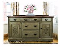 UPCYCLED BEAUTIFUL EDWARDIAN SIDEBOARD IN GREY ANNIE SLOAN