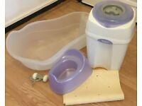 Baby / kids potty, bath tube, anti-slip bath mat and baby harness