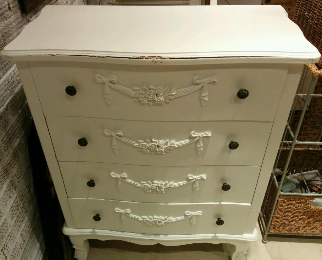 white toulouse 4 drawer chest of drawers from dunelm mill. Black Bedroom Furniture Sets. Home Design Ideas