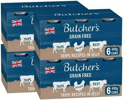 Butcher's Grain Free Tripe Recipes Jelly Wet Dog Food Tin Cans Variety Pack 24 4