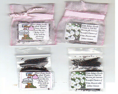 25  PINK STORK THEME for BABY GIRL SHOWER FAVORS BABY'S BREATH SEEDS + POEM (Baby Themes For Girl)