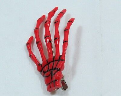 Spooky Halloween Clips (Pair of Skeleton Hand Hair Clip RED Halloween Costume Spooky Creepy)