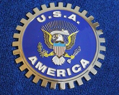 Blue USA United States Eagle Grille Badge Bumper License Topper Accessory (Falcon Grill Parts)