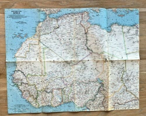1966 National Geographic Map Poster Northwestern Africa Morocco Algeria