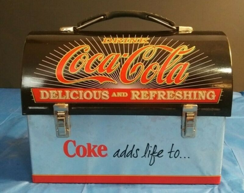 Vintage Coca cola Lunchbox Black Silver Red Collector Coke adds life to...