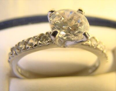 Very Pretty 1 CT Round Cut CZ Sterling Silver Engagement Dinner Ring Size 6.75 1ct Cz Engagement Ring