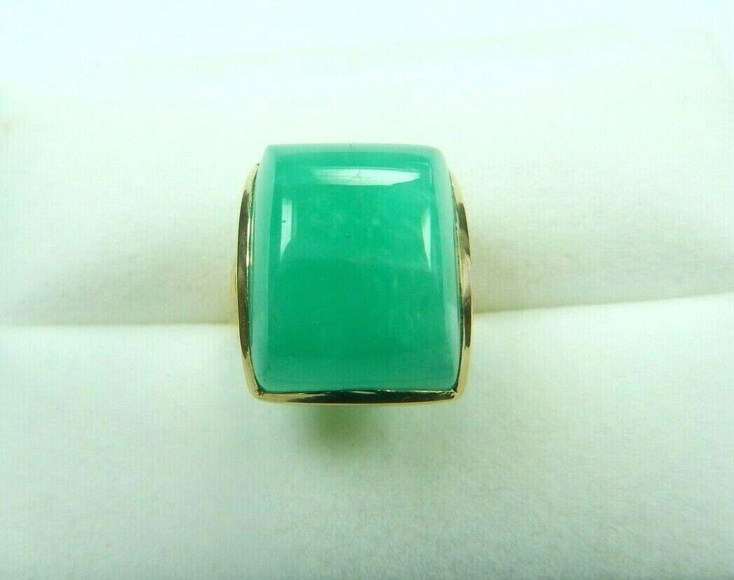 Colombian Cabochon Emerald Ring 38.00 Cts Square Cut 18K Gold US 6.25 UK Muzo Mi
