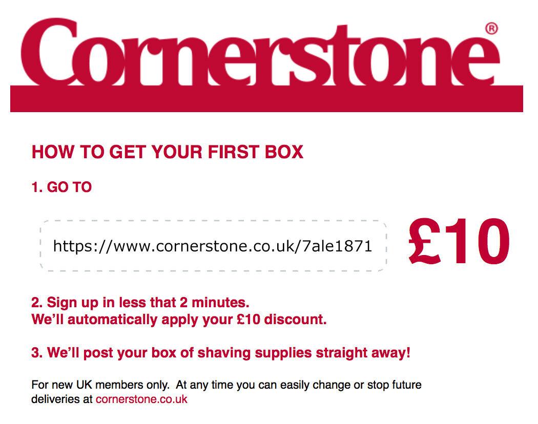 Cornerstone razor £10 Off voucher code as seen on TV (no need to buy)