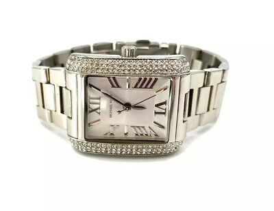 Michael Kors MK3289 Stainless Steel Rectangular Crystal Pave Watch Gorgeous