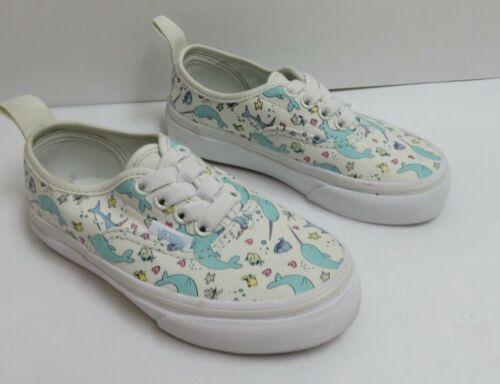 Vans Shark Party Blue Little Kids' Authentic Elastic Lace Shoes Size 10.5 NWOB