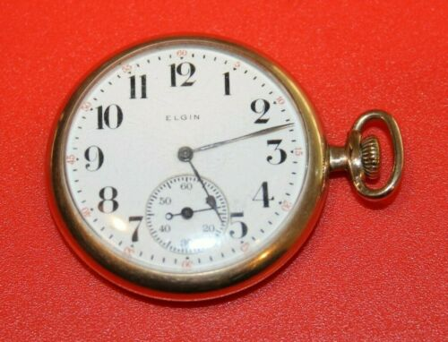 NICE 12s 7j 1898 ELGIN MODEL 2 GRADE 188 GF OPEN FACE POCKET WATCH  - WORKING