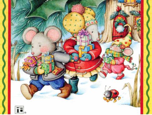 Mary Engelbreit-MOUSE FAMILY Ladybug-Blank Christmas NoteCard w/Envelope-NEW