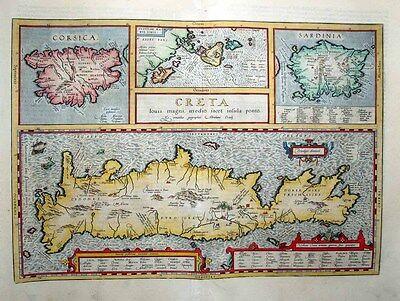 1603 Ortelius Map CRETE + Sardinia Corsica & Greek Islands Scholarly, Decorative