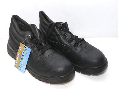 SAFETY WORK SHOES LEATHER STEEL TOE CAP CLICK BLACK MENS//LADIES SIZES 3-13
