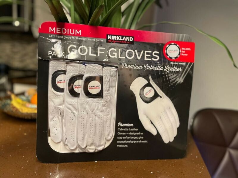 Kirkland Men's Gold Gloves Premium Cabretta Leather Medium Left Hand Right Golf