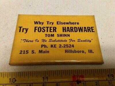 Vintage Foster Hardware Tom Shinn Hillsboro Illinois Advertising Pocket Mirror