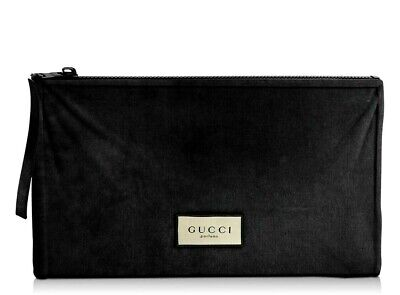 GUCCI Beauty Black Polyester Zippered Pouch Clutch Makeup Cosmetic Travel Bag