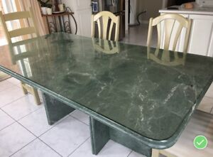 Jade Green Serpentine Marble Dining Table