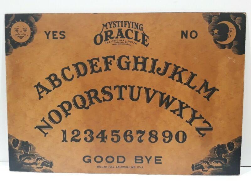 Vintage 1940s 🔥Mystifying Oracle🔥15×22 Large William Fuld Ouija Board-No Eye🔥