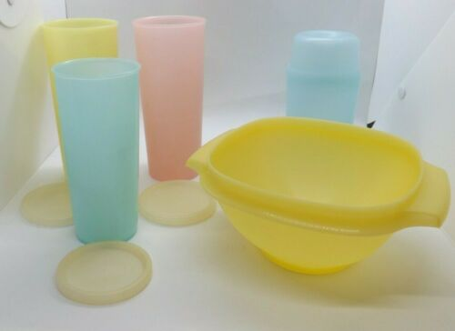 Vintage 8 Pc Tupperware Pastel Lot 3 Tumblers w Seals Bar Shaker Servalier Bowl