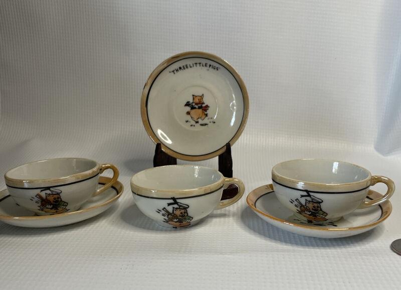 Three  Little Pigs china, made in Japan Mini tea set pieces Vintage AZ