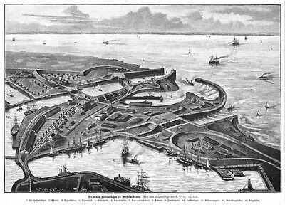 Wilhelmshaven, Hafenanlagen, grosser Original-Holzstich von  1887