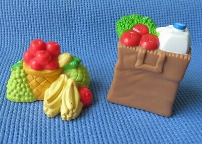 Loving family dollhouse Kitchen Food FRUIT CLUSTER & GROCERY SACK VEGGIES LOT